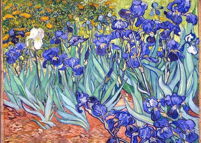 Van Gogh Greeting Card featuring the painting Irises by Van Gogh
