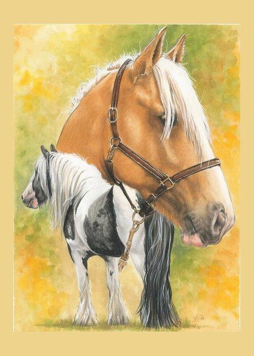 Draft Horse Greeting Card featuring the mixed media Irish Cob by Barbara Keith