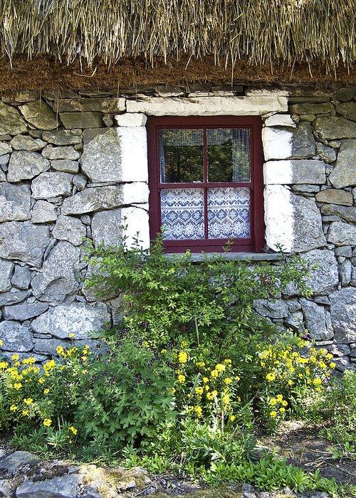 Irish Greeting Card featuring the photograph Irish Cottage Window County Clare Ireland by Teresa Mucha