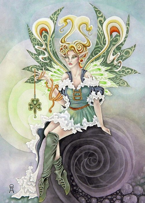 Faery Greeting Card featuring the painting Irish Faery by Ora Moon