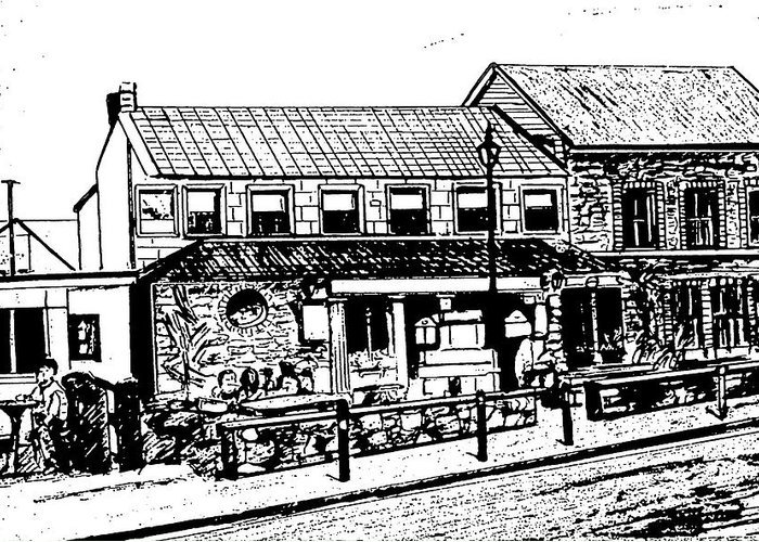 Irish Landscape Greeting Card featuring the drawing Irish Pub by Monica Engeler