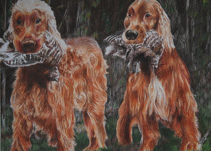 Dogs Greeting Card featuring the drawing Irish Setters by Darcie Duranceau