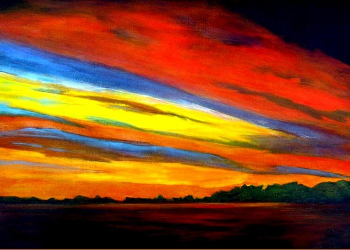 Sunset Greeting Card featuring the painting Irish Sunset by Julie Lamons