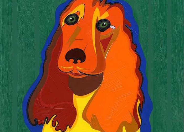 Pop Art Greeting Card featuring the painting Irish The Red Setter by Ruby Persson