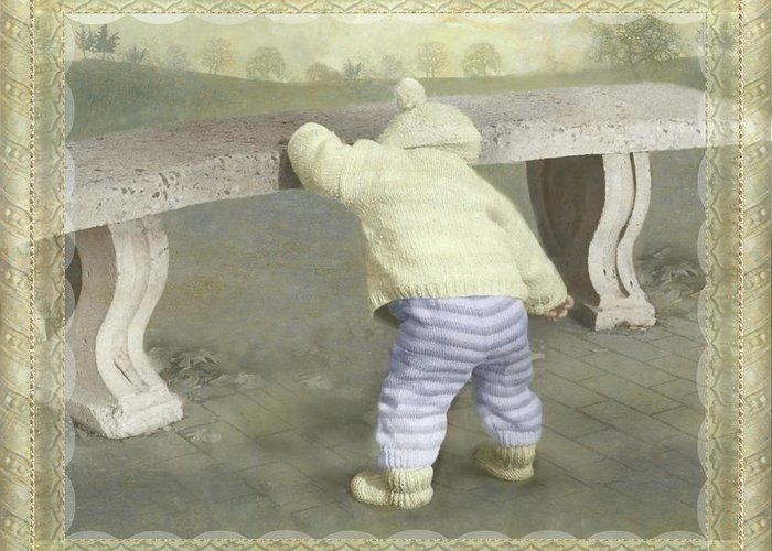 Greeting Card featuring the photograph Is Bunny Under The Bench? by Adele Aron Greenspun