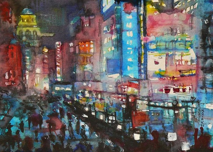 Cities Greeting Card featuring the painting Is There Anything Going On Tonight In Downtown by Dreja Novak