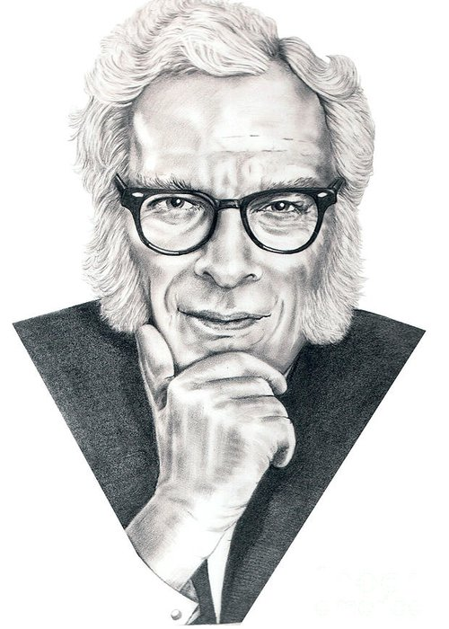 Portrait Greeting Card featuring the drawing Isaac Asimov by Murphy Elliott
