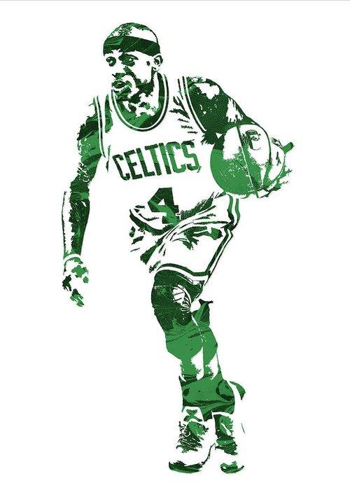 Isaiah Thomas Greeting Card featuring the mixed media Isaiah Thomas Boston Celtics Pixel Art 4 by Joe Hamilton