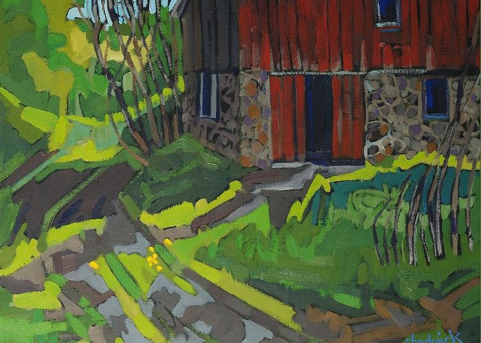 Isaiah Greeting Card featuring the painting Isaiah Tubbs Barn by Phil Chadwick
