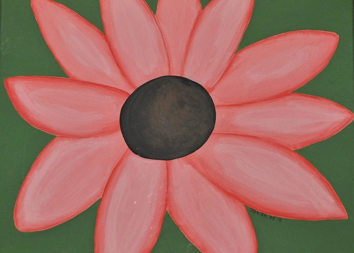 Pink Greeting Card featuring the painting Isaiah's Flower by Ashlee Tolleson