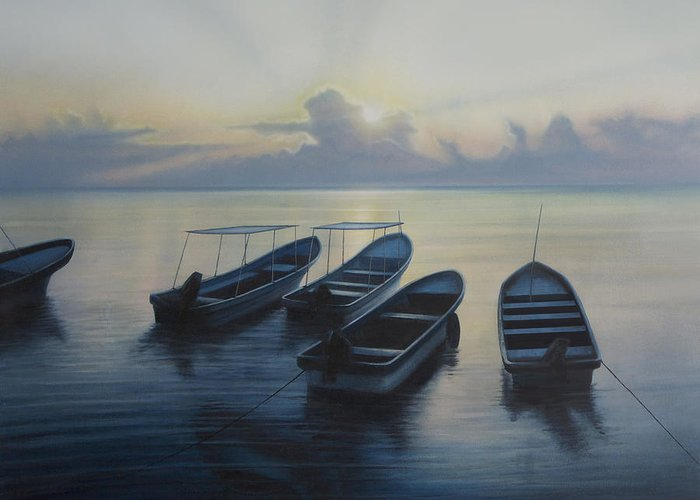 Seascape Art Greeting Card featuring the painting Isla Mujeres by Angel Ortiz