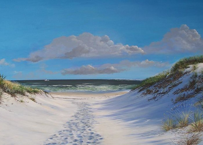 Seascape Greeting Card featuring the painting Island Beach Dune Walk by Ken Ahlering