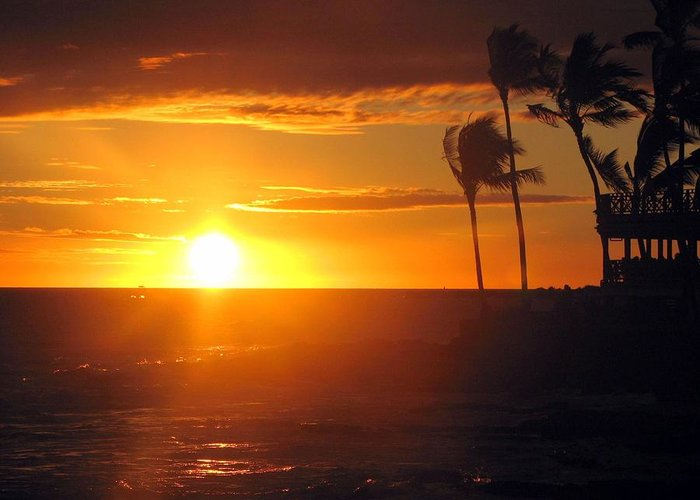 Sunset Greeting Card featuring the photograph Island Breeze by Athala Carole Bruckner