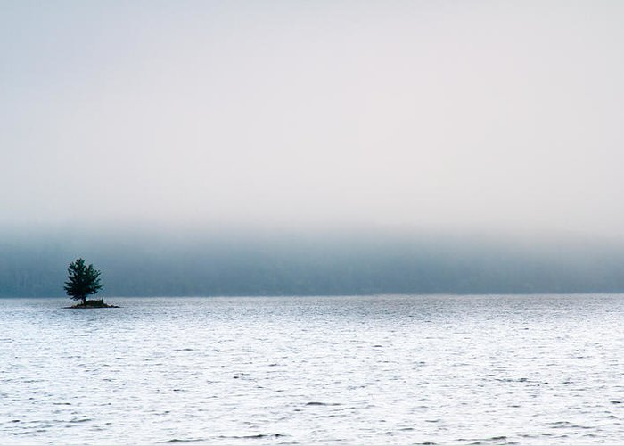 Auburn Greeting Card featuring the photograph Island In The Fog by Bob Orsillo