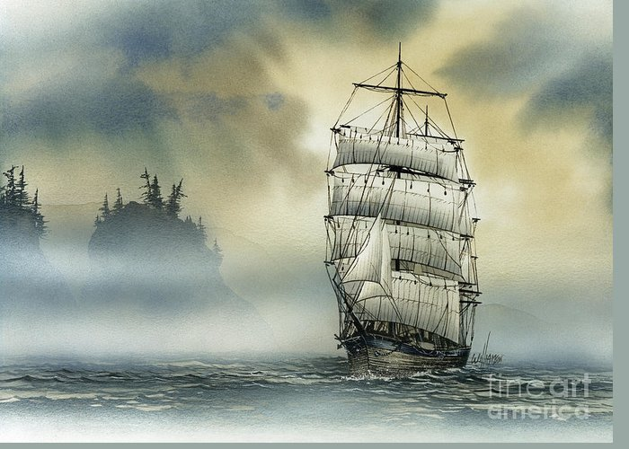 Tall Ship Print Greeting Card featuring the painting Island Mist by James Williamson