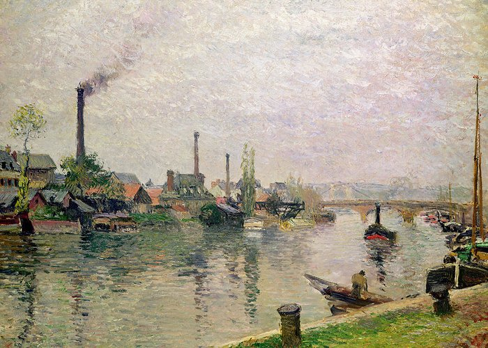 Ile Greeting Card featuring the painting Island Of The Cross At Rouen by Camille Pissarro