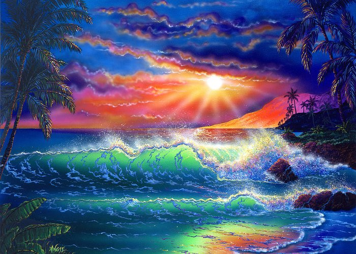 Seascape Greeting Card featuring the painting Island Paradise by Angie Hamlin