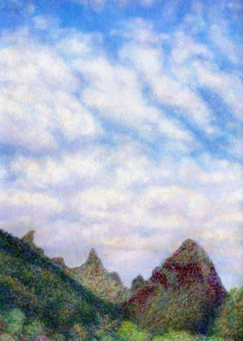 Coastal Decor Greeting Card featuring the painting Island Sky by Kenneth Grzesik