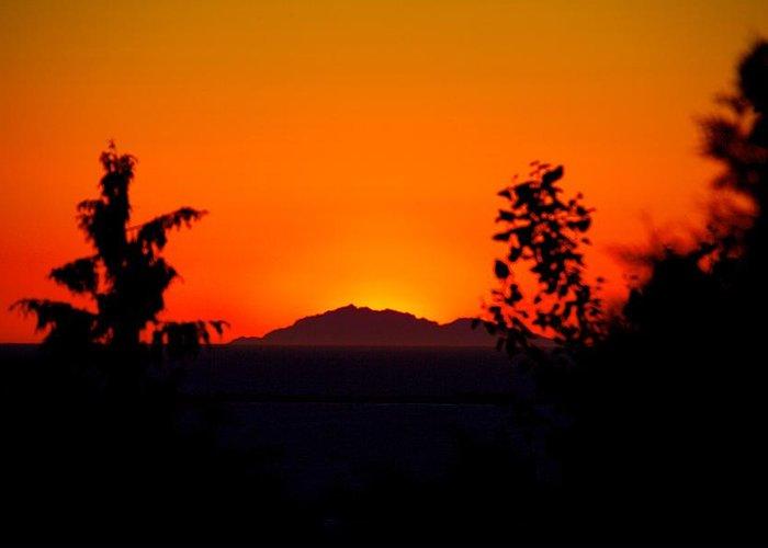 Island Greeting Card featuring the photograph Island Sunset by Paul Kloschinsky