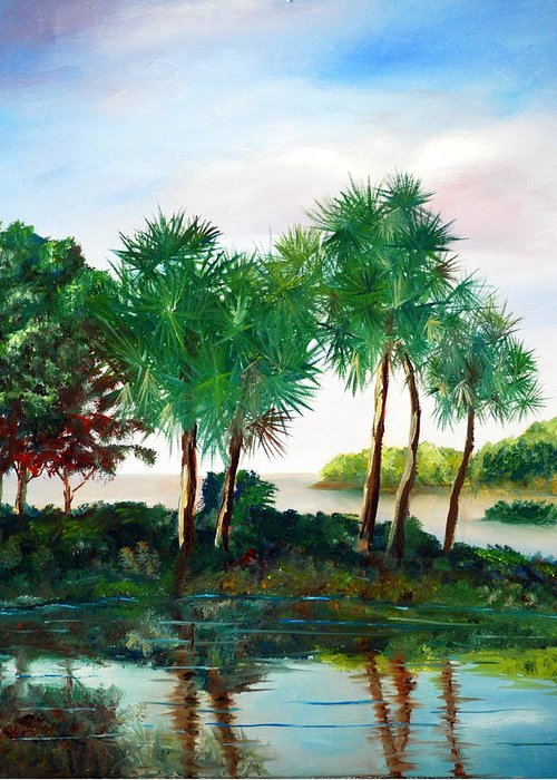 Palms Greeting Card featuring the painting Isle Of Palms by Phil Burton