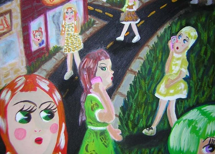 Dolls Greeting Card featuring the painting Isolate Languages by Michelley QueenofQueens