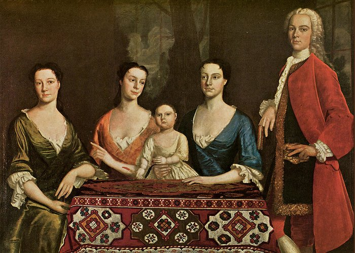 Robert Feke Greeting Card featuring the painting Issac Royall And His Family by Robert Feke