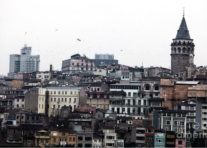 Istanbul Buildings Greeting Card featuring the photograph Istanbul Buildings by John Rizzuto