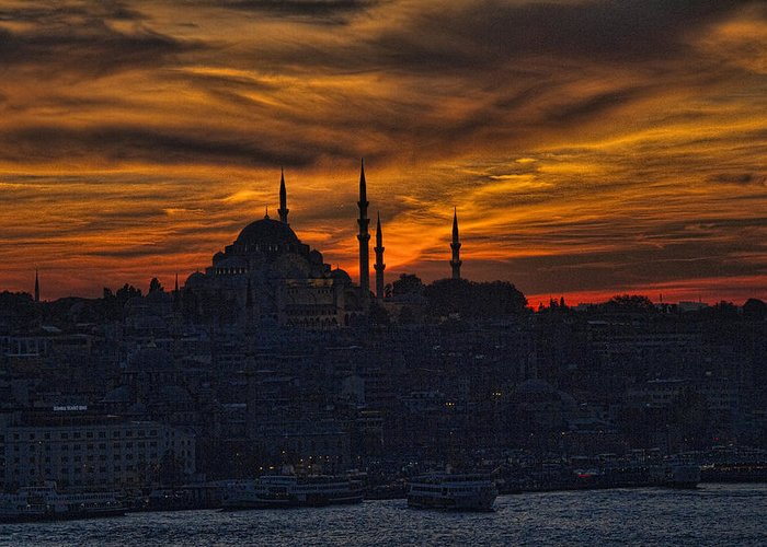 Dramatic Greeting Card featuring the photograph Istanbul Sunset - A Call To Prayer by David Smith