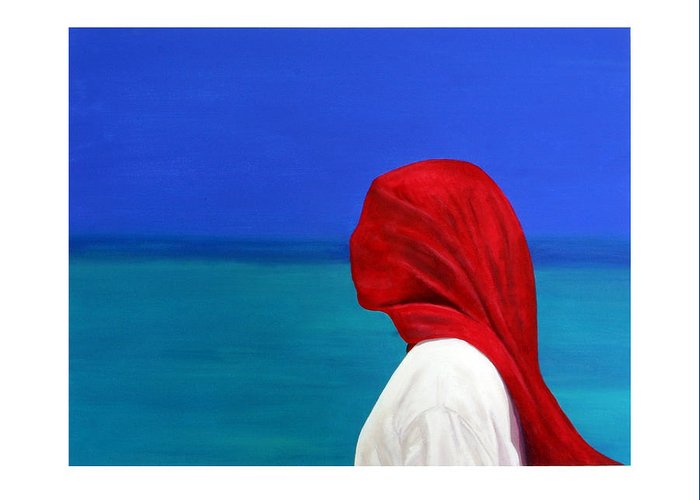 Red Greeting Card featuring the painting It Could Be You by Fiona Jack