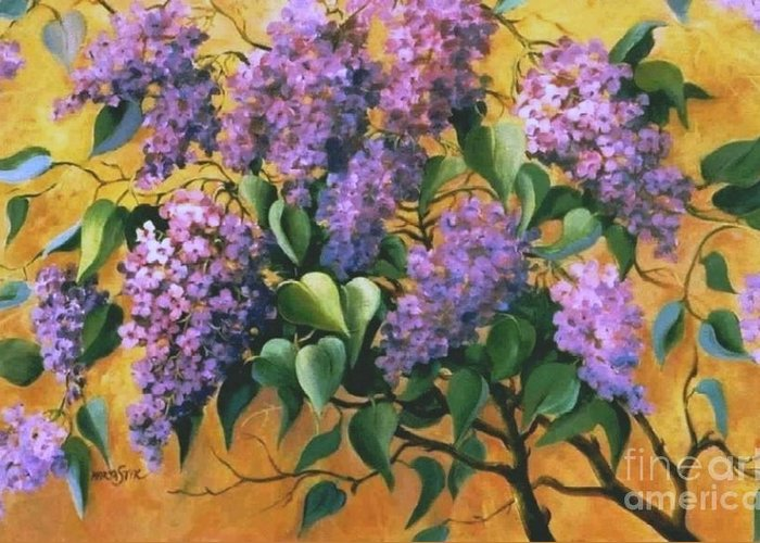 Flovers Greeting Card featuring the painting It Is Lilac Time 2 by Marta Styk
