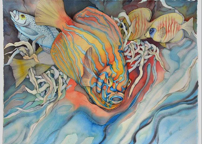 Sealife Greeting Card featuring the painting It Is Sunny Down There by Liduine Bekman