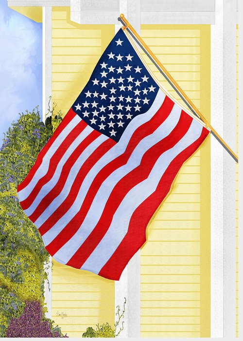 U.s. Flag Greeting Card featuring the painting It Will Fly Until They All Come Home by Anne Norskog