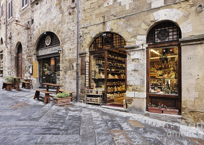 Architectural Detail Greeting Card featuring the photograph Italian Delicatessen Or Macelleria by Jeremy Woodhouse