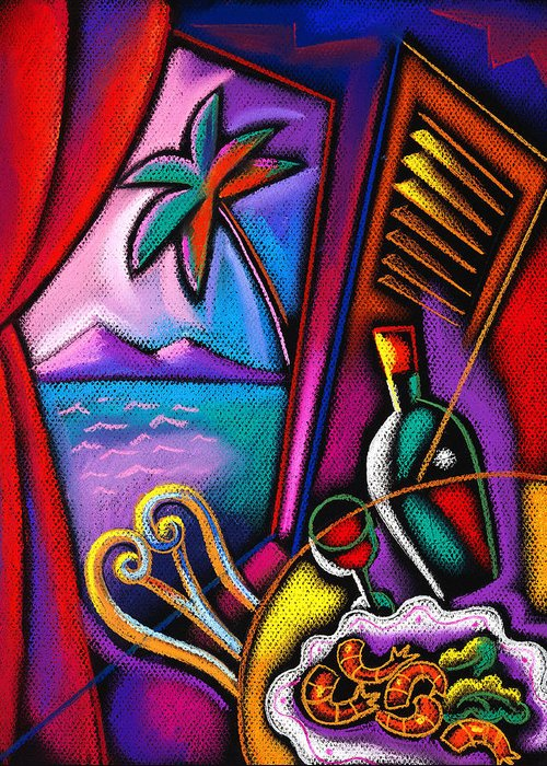Alcohol Appetizing Cooking Delicious Dining Dinner Dish Eating Entertainment Europe Flavor Fork Fresh Furniture Glass Graphic Design Health Healthy Historical Landmark Illustration Italy Landmark Meal Mediterranean Menu New Nourishing Nutrition Nutritious Object Pasta Plate Ready Recreation Refreshment Restaurant Roma Rome Service Industry Snack Spaghetti Specialty Sun Sunshine Table Taste Tourist Attraction Twisting Vertical Wholesome Winding Wine Wine Glass Decorative Painting Abstract Art Greeting Card featuring the painting Italian Food by Leon Zernitsky