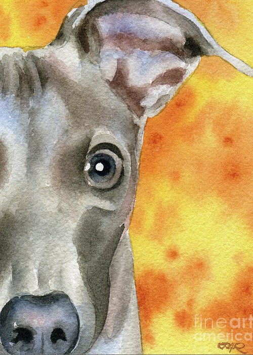 Italian Greeting Card featuring the painting Italian Greyhound by David Rogers