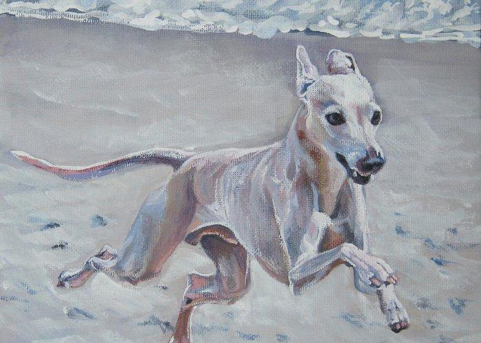 Italian Greyhound Greeting Card featuring the painting Italian Greyhound On The Beach by Lee Ann Shepard