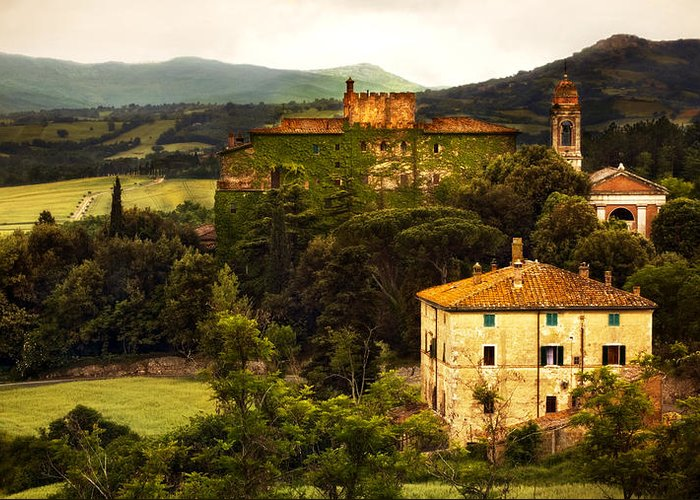 Italy Greeting Card featuring the photograph Italian Castle and Landscape by Marilyn Hunt