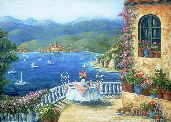 Cat Greeting Card featuring the painting Italian Lunch On The Terrace by Marilyn Dunlap