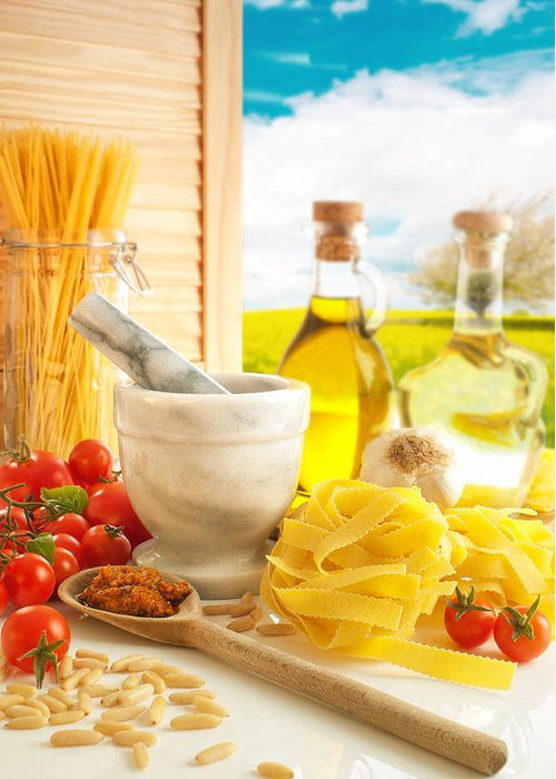 Spaghetti Greeting Card featuring the photograph Italian Pasta In Country Kitchen by Amanda Elwell