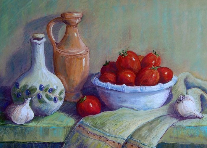 Still Life Greeting Card featuring the pastel Italian Still Life by Candy Mayer