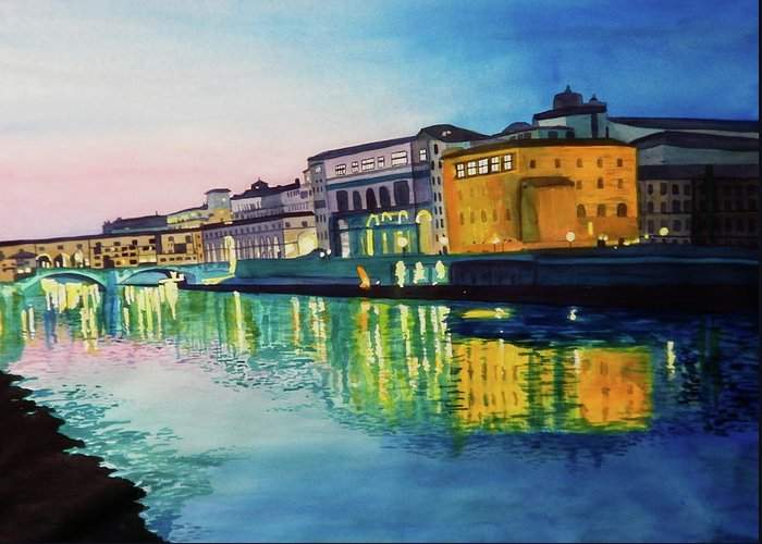 Italy Greeting Card featuring the painting Italian Sunset by Terry Honstead