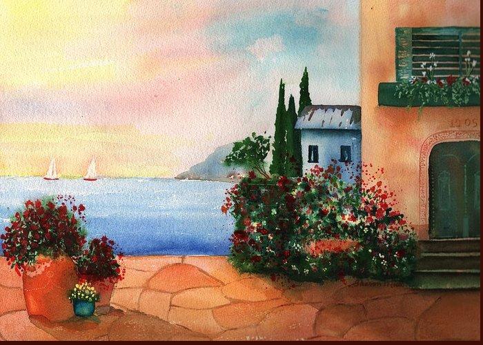 Italian Sunset Villa By The Sea Greeting Card featuring the painting Italian Sunset Villa By The Sea by Sharon Mick