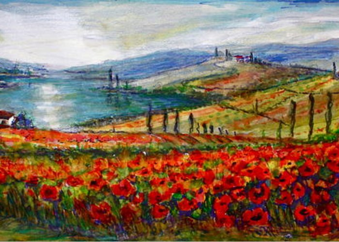 Italy Greeting Card featuring the painting Italy Tuscan Poppies by Yvonne Ayoub
