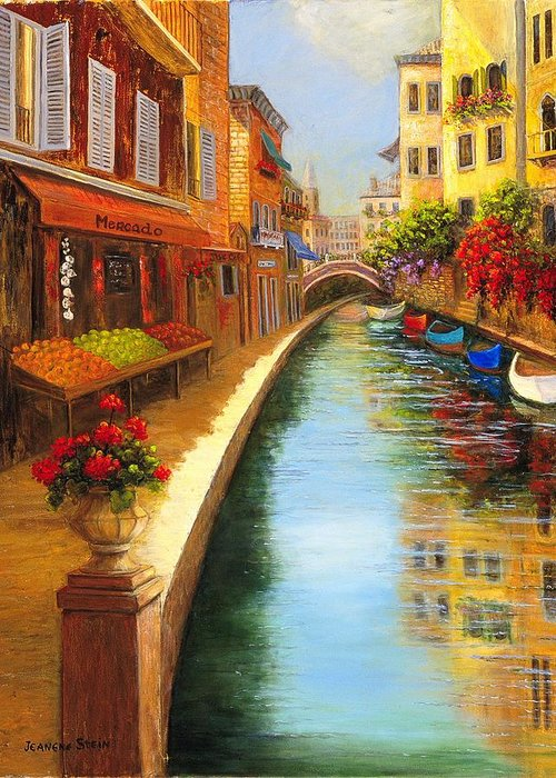 Canal. Italy Greeting Card featuring the painting Italys Canal Street by Jeanene Stein