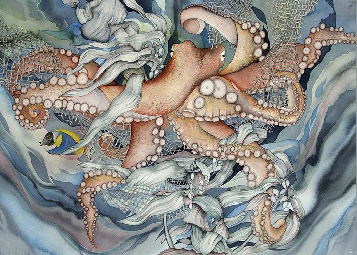 Sealife Greeting Card featuring the painting Its A Wonderful Wonderful World by Liduine Bekman
