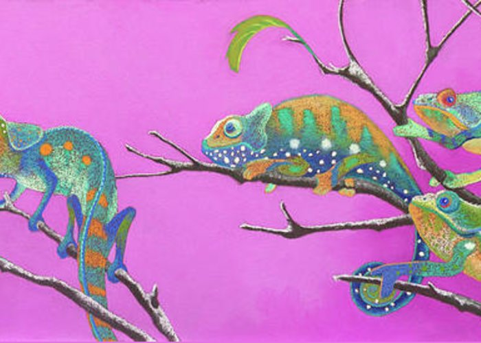 Chameleon Greeting Card featuring the pastel Its All Just An Illusion by Tracy L Teeter