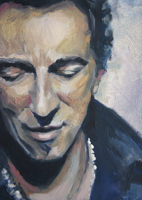 Bruce Greeting Card featuring the painting It's Boss Time II - Bruce Springsteen Portrait by Khairzul MG