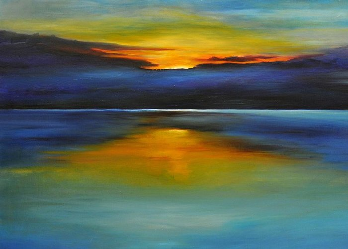 Sunset Greeting Card featuring the painting Its Five Oclock Somewhere by Debbie Anderson