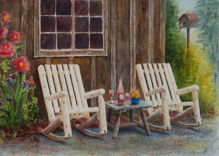 Chairs Greeting Card featuring the painting It's Five O'clock Somewhere by Karen Fleschler