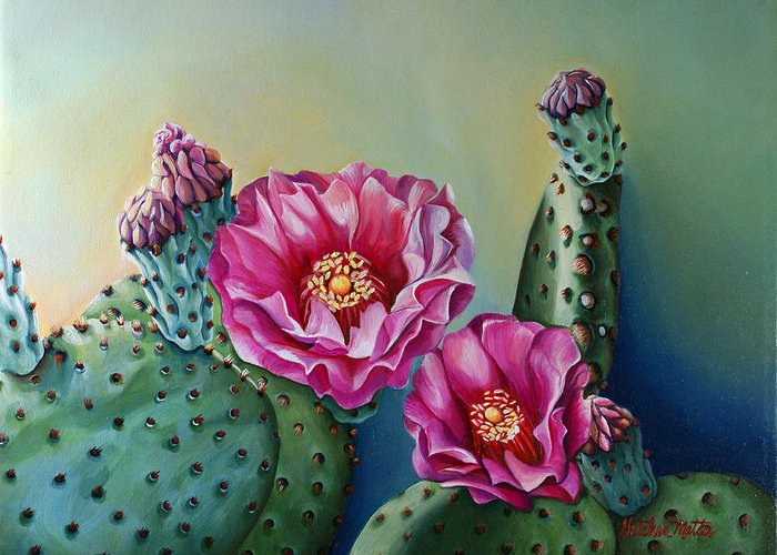 Landscape Greeting Card featuring the painting Its Good To Have Buds by Gretchen Matta